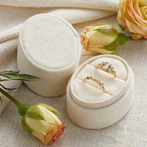 Velvet Ring Box Pearl, Oval 2-Ring Shape, Engagement Ring Box, Ring Bearer Box, Wedding Ring Box