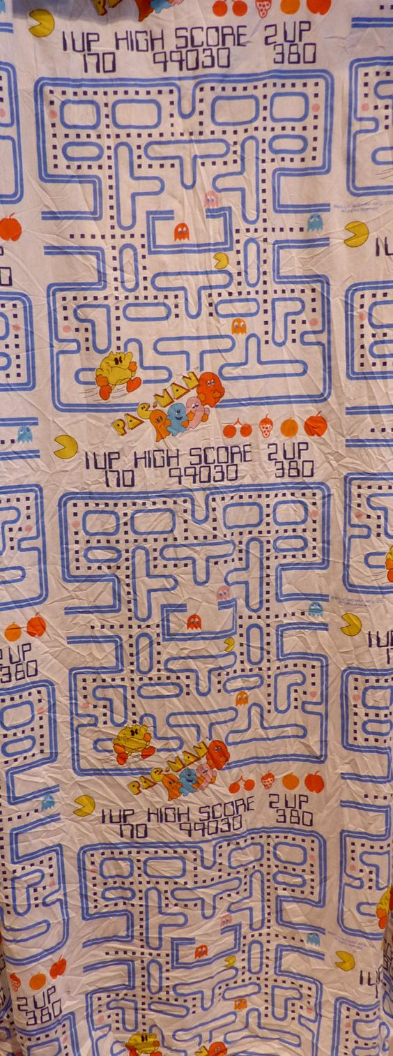 Vintage Pac Man Fitted Bed Sheet 1980's // by TrueValueVintage