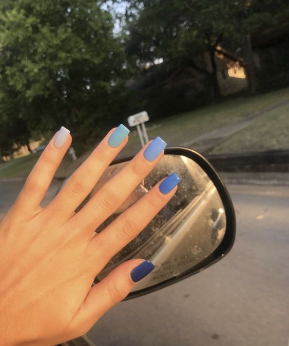 different shades of blue nails
