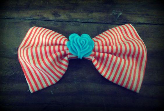 Red Stripe Hair Bow, Pin Up Hair Bow, Rockabilly Hair Bow, Hair Bow for Teens, Fabric Hair Bow, Cute Hair Bow, Hair Accessories, Hair Clips.