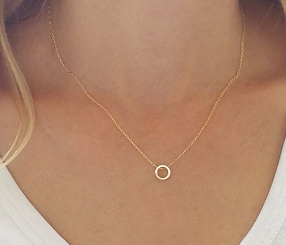Dainty circle necklace Karma necklace Gold circle by HLcollection:
