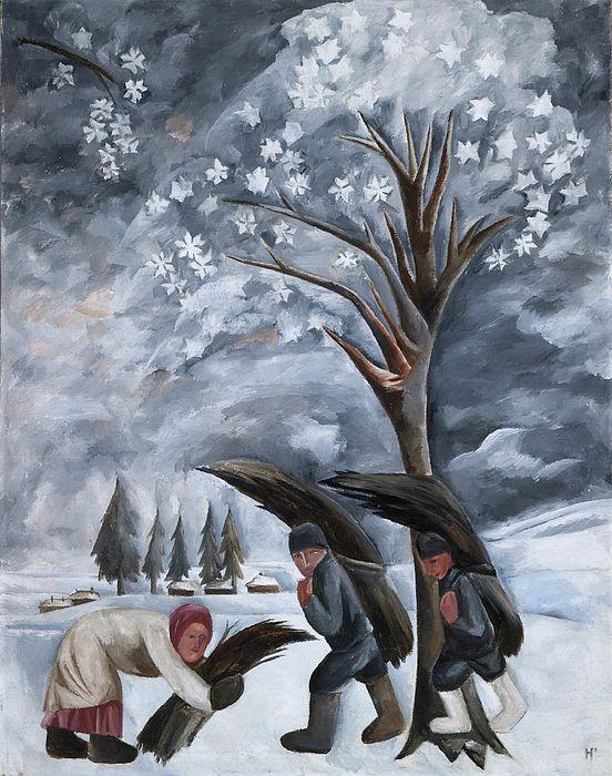 Gathering Brushwood In Winterpeasants Collecting Firewood In A Winter Landscape By Russian Modernist Natalia Goncharova Painted In Art Winter Art Russian Art