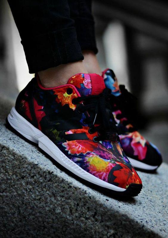 adidas zx flux rose print