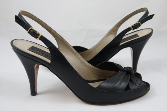 Barefoot Originals, Slingback Heels, Strappy Shoes, Peep Toe Black Leather, Size 6.5B - Made in Italy