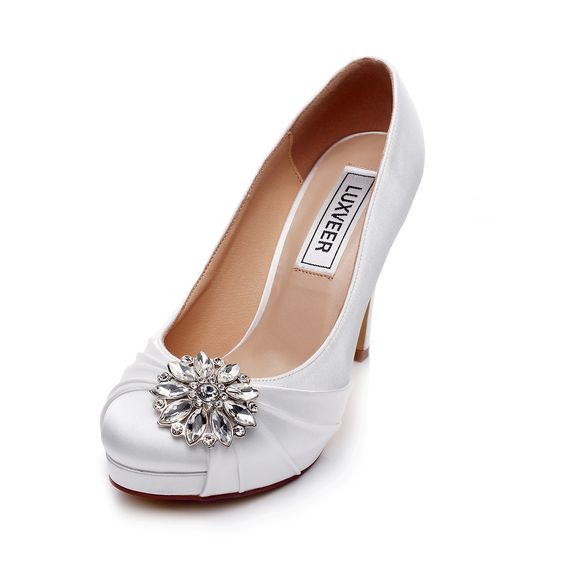 Satin Wedding Shoes Bridal Comfortable With Lace And Rhinestone Unique Design High Heel For