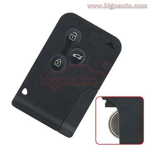 Renault Megane//Megane Scenic 2003-2008 3 Button Remote Key Card 433Mhz PCF7947