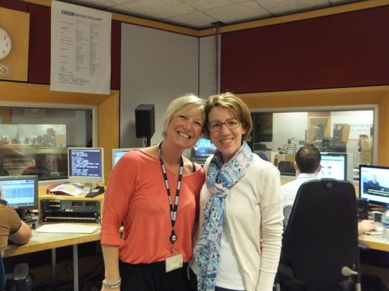BBC Radio Solent Presenter and Producer, Sam Fraser with crime author Pauline Rowson, on the Breakfast Show 2 October 2014