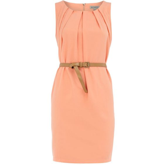 Peach sleevless belted dress ($29) ❤ liked on Polyvore