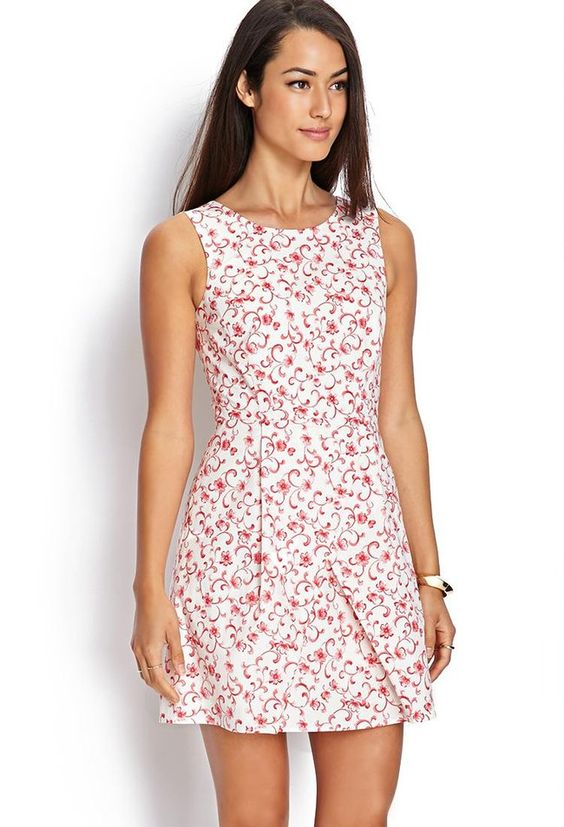 Love 21 - A woven sleeveless dress featuring a floral print and V-back ...