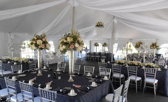 Tent reception, draped and brimming with crystal accents