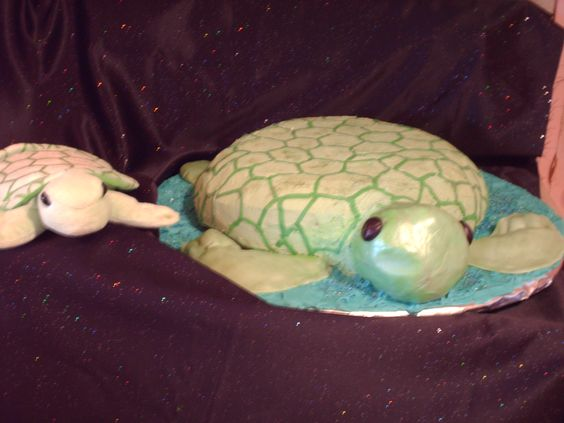 the sea turtle cake and the inspiration for him...a small favorite stuffed toy of the birthday boy!
