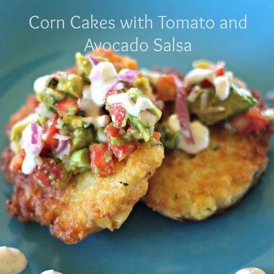 Corn Cakes with Tomato and Avocado Salsa
