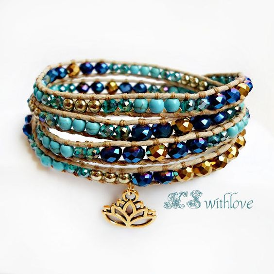Boho Chic Bracelet Blue Turquoise Wrap Bracelet by MSwithlove
