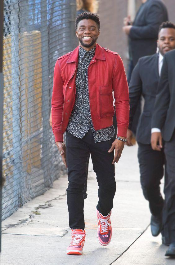 Actor Chadwick Boseman Wears J Brand Tyler Slimfit Jean