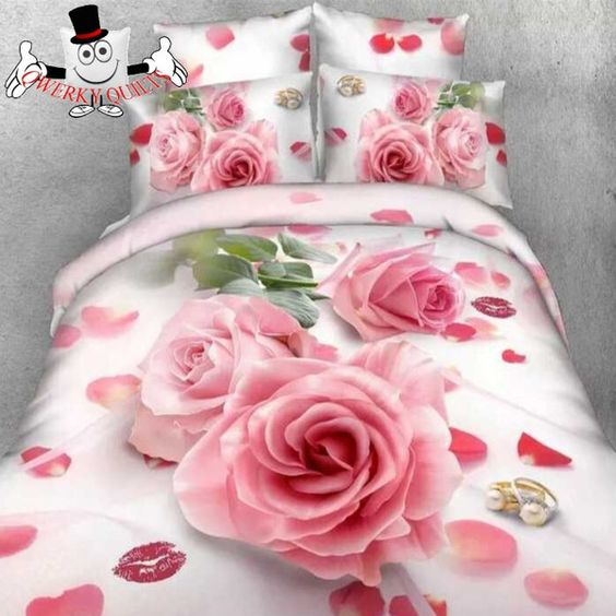 Wedding Pink Rose Bedding Set and Quilt Cover Buy Here: http://www.qwerkyquilts.com/collections/floral-quilt-cover-bedding-sets/products/wedding-pink-rose-bedding-set-and-quilt-cover