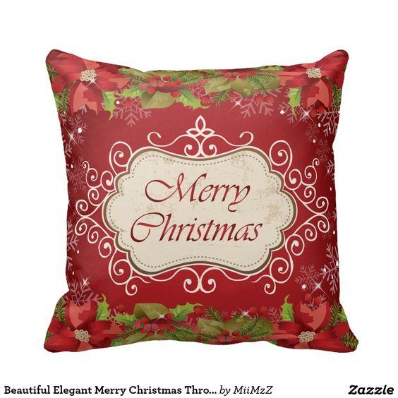 Beautiful Elegant Merry Christmas Throw Pillow #Christmas #merry Christmas #xmas #pillow