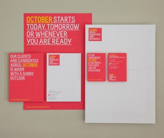 Brand design for October, a digital recruitment agency that is rapidly gaining a reputation in the industry for the smart, insightful way it does business.