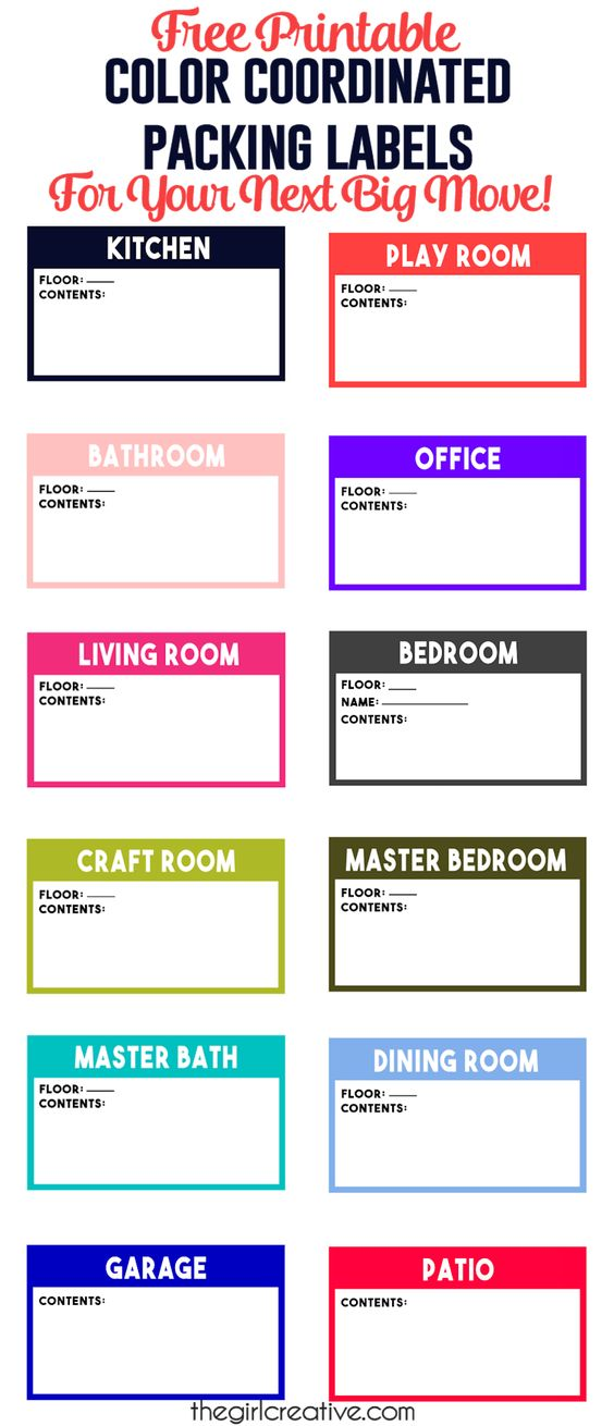 Color coordinated packing labels are a MUST HAVE for your next big move. Keep track of everything in every room with free printable packing labels.