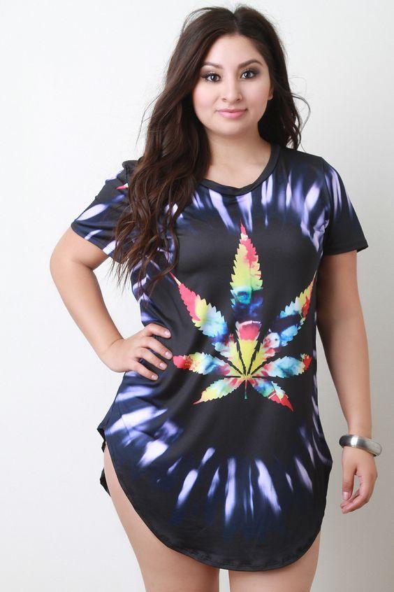 Tie Dye Leaf T-Shirt Mini Dress