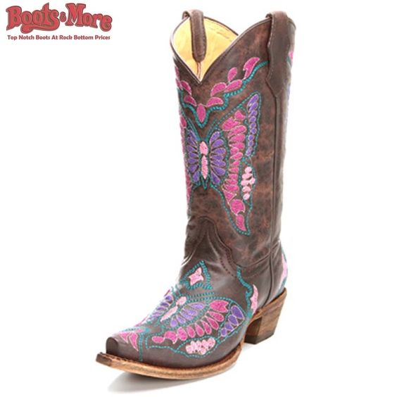 Corral Chocolate Butterfly Cowgirl Boots [A1112] - $109.99 : Boots ...