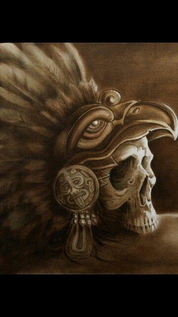 Aztec Eagle Warrior Headdress Drawing aztec eagle warrior skull skulls ...