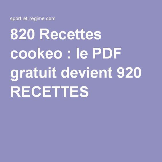 820 Recettes cookeo : le PDF gratuit devient 920 RECETTES  