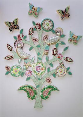 Bird Tree with Butterflies Original 120 x 95