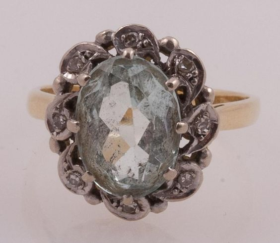 Victorian aquamarine and diamond princess ring with beautiful faceted aquamarine surrounded by old mine cut diamonds.  Beautiful pronged antique setting in 18k yellow gold.