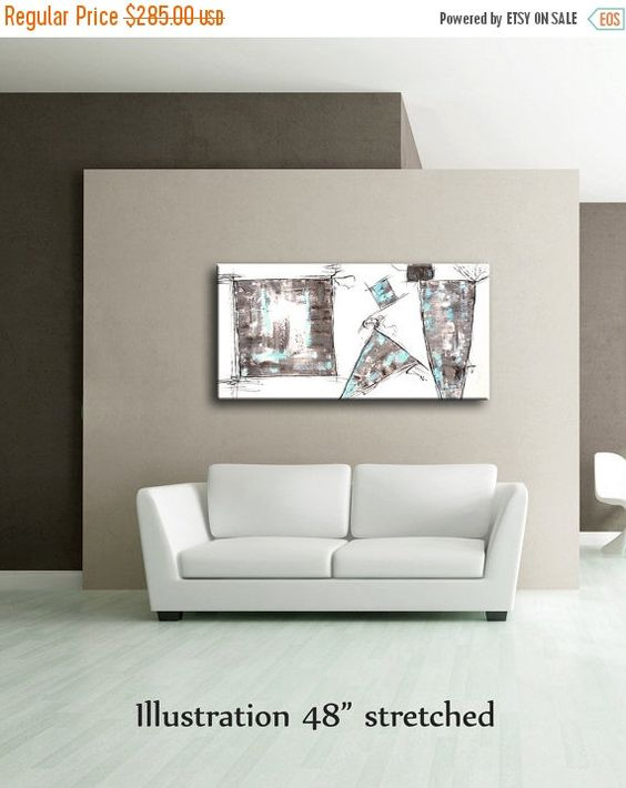 50%OFF 48 x 24 White Gray Brown Light Blue Black by EditVorosArt