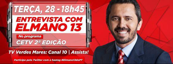 Elmano é o entrevistado do CETV 2º Edição, às 18h 45. Assista! #Elmano13doPT
