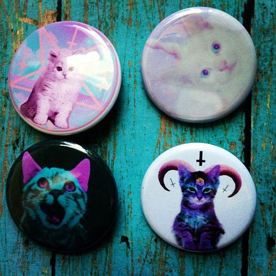 1.25 Pastel Goth Kawaii Set Of 4 Cat Pinback Buttons by GeekFreakBoutique, $5.00