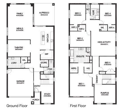 5 bedroom - 44.24sq - Hampton 4700 by Burbank homes. | Rectangle ...