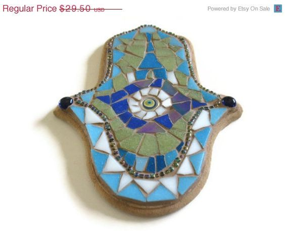 On sale Hamsa Hand Charm Glass Mosaic Wall Art by MosaicMargalita, $26.55
