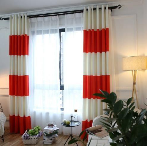 Cream And Orange Unique Striped Color Block Curtains Color Block