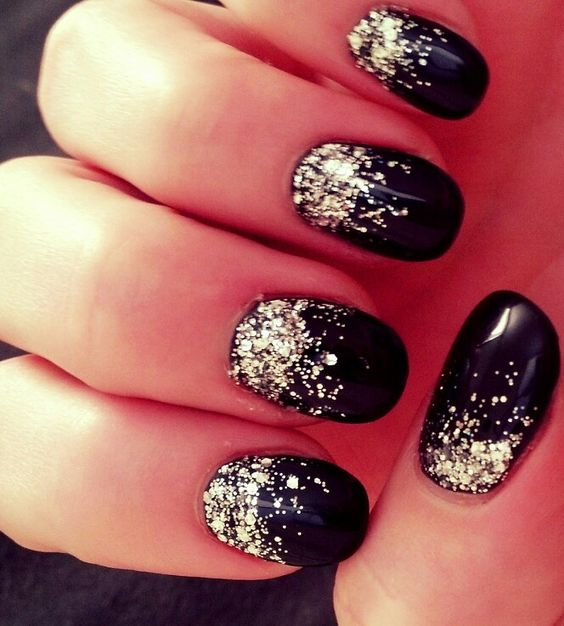 Black ombre glitter acrylic nails | Love♡♡♡ | Pinterest ...