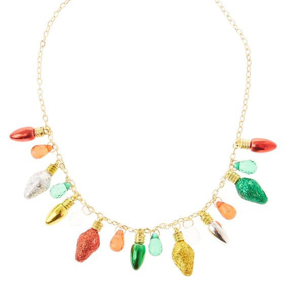 Glitter Christmas Lights Gold Necklace