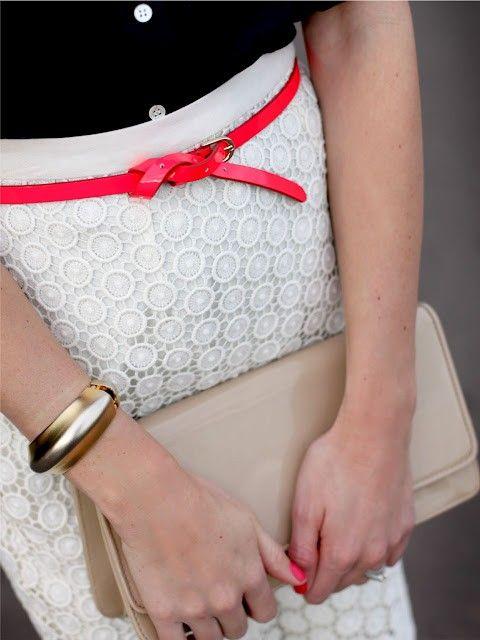 eyelet skirt and belt