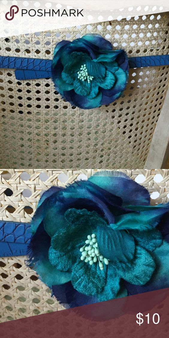 Flower Belt Ann Taylor Loft blue & teal flower detail lizard embossed belt LOFT Accessories Belts