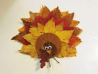 Preschool Crafts for Kids*: Thanksgiving Fall Leaves Turkey Craft
