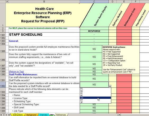 scheduling software evaluation RFP sample of questions taken - staff evaluation
