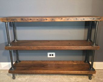reclaimed wood shelf shelving unit with 3 shelfs. Black Bedroom Furniture Sets. Home Design Ideas