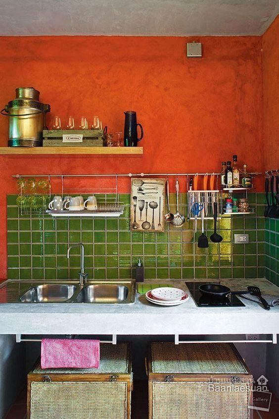 Orange, Green tiles and Tiny kitchens on Pinterest