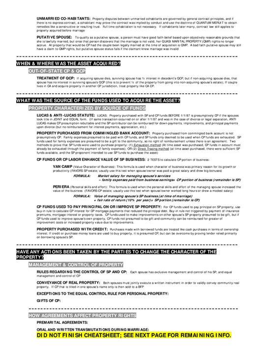 CA Bar Community Property Highlights Breedenu0027s Attack Sheet - uncc resume builder