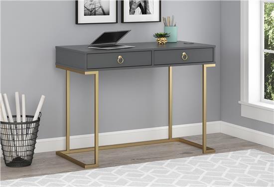 Ameriwood Furniture Serenity Writing Desk Graphite Gray Solid Wood Writing Desk Furniture Desk With Drawers