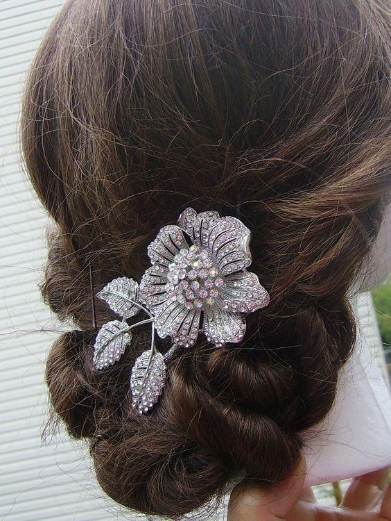 Floral Pave Rhinestone Hair Clip