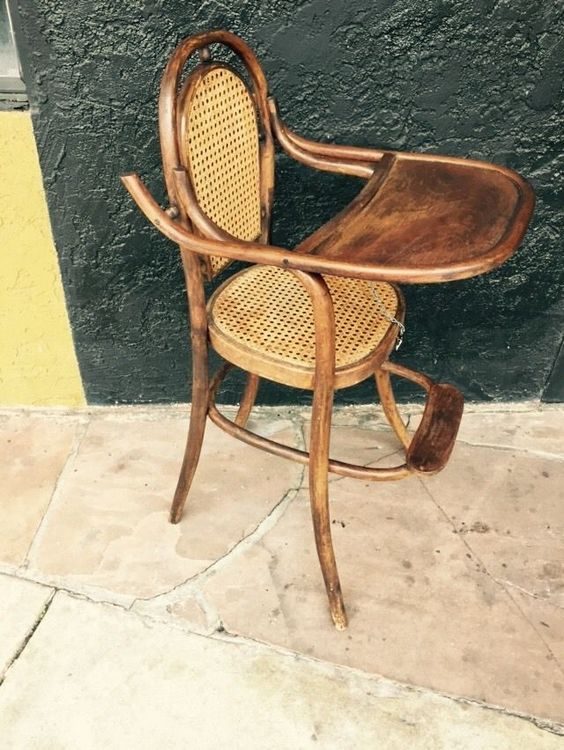 Antique 1800 S Thonet Baby High Chair Bent Wood And Wicker Austria - Antique Bentwood High Chair - Best 2000+ Antique Decor Ideas