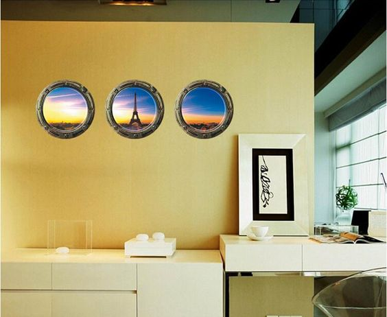 2015NEW 3pcs/set Removerable Eiffel Tower Wall Sticker PVC Round Living Room Wall Decorations - http://www.aliexpress.com/item/2015NEW-3pcs-set-Removerable-Eiffel-Tower-Wall-Sticker-PVC-Round-Living-Room-Wall-Decorations/32399539020.html
