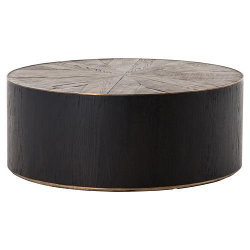 Oldman Rustic Lodge Black Brown Round Oak Wood Coffee Table Drum