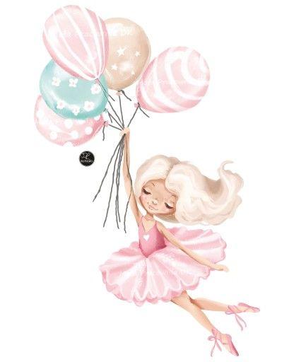 Baletnica Pastelowe Baloniki Naklejka Dla Dzieci Detskie Kartiny Milye Risunki Risunki