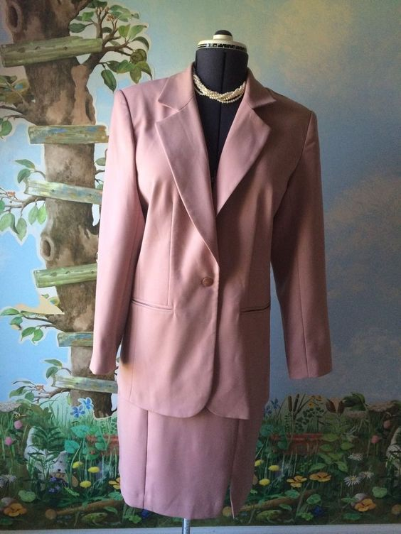 Lew Magram Career Pink Skirt Women Long Sleeve Suit SZ 10  #LEWMAGRAMCOLLECTION #SkirtSuit